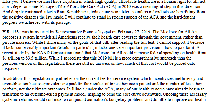 (Excerpt from a letter Rep. Schnieder's office sent to a constituent about Medicare for All, June 2019.)